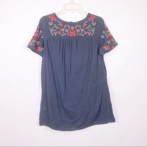 Zara Black Floral Embroidered Short Sleeve Tunic